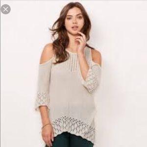 NWT Lauren Conrad Crochet Cold-Shoulder Sweater